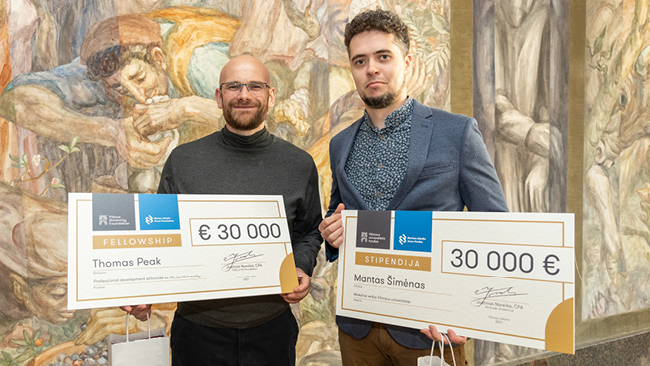 Jaunųjų mokslininkų dr. Thomas Peak ir dr. Manto Šimėno kofinansavimas